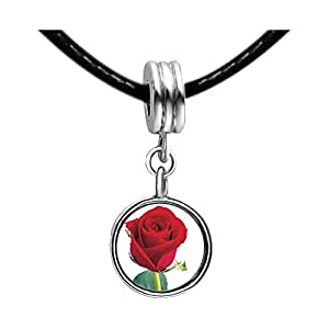 Chicforest Silver Plated Red Rose Photo Light Amethyst Crystal June Birthstone Flower dangle Charm Beads Fits Pandora Biagi Troll Chamilia Kay's Beads Charms