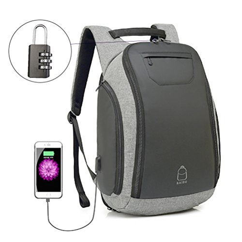 Samaz Anti-theft Backpack Travel Laptop Backpack Waterproof Business Laptop Backpack School Bag with an Insulated Water Bottle Pocket & USB Charging Port ()