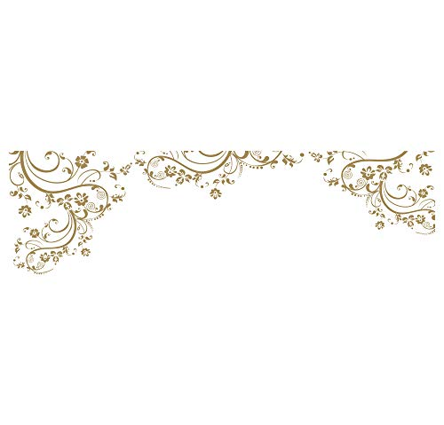 Gold Swirl Flower Floral Wall Decal Design. Edge to Edge Wall Decal. (100