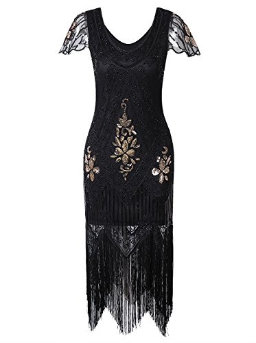 Vijiv Women's 1920s Vintage Gatsby Art Deco Sequin Beaded Long Cocktail Flapper Dress With Sleeves Black Gold M -