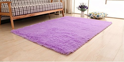 Super Soft Modern Shag Area Rugs Living Room Carpet Bedroom Rug for Children Play Solid Home Decorator Floor Rug and Carpets 4- Feet By 5- Feet Purple