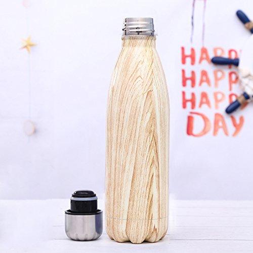 Stainless Steel Sport Insulated Water Bottle Wood Grain Unicorn Letter Bowling Shaped Drinkware Coke Bottle 500ML,17oz(Wood Grain) by WJYX (Image #4)
