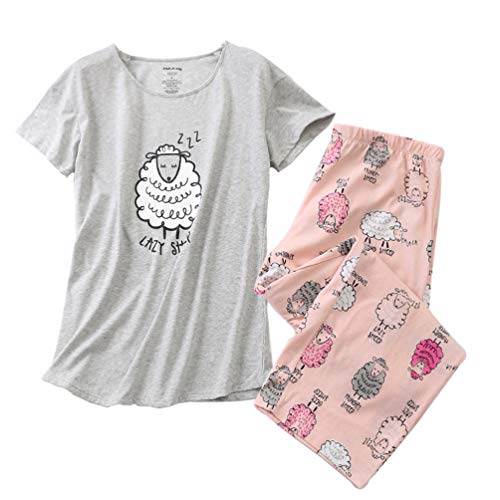 ENJOYNIGHT Women's Sleepwear Tops with Capri Pants Pajama Sets (X-Large, Sheep)