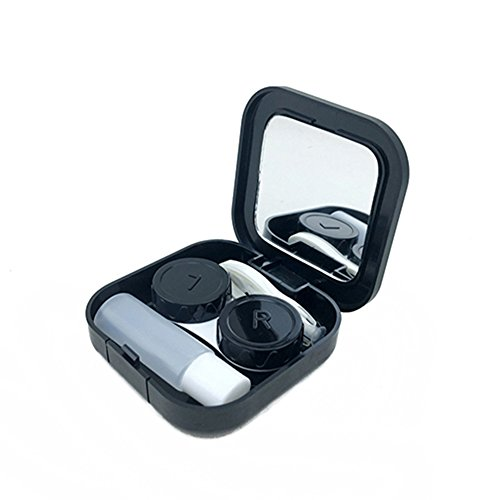 Portable Contact Lens Case Container Travel Kit Set with Mirror Tweezer Stick Holder Box Soak Storage Eyecare Kit (Black)