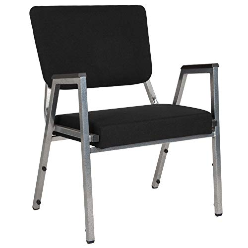MFO 1500 lb Rated Black Antimicrobial Fabric Churchillatric Arm Chair, 3/4 Panel Back & Silver Vein