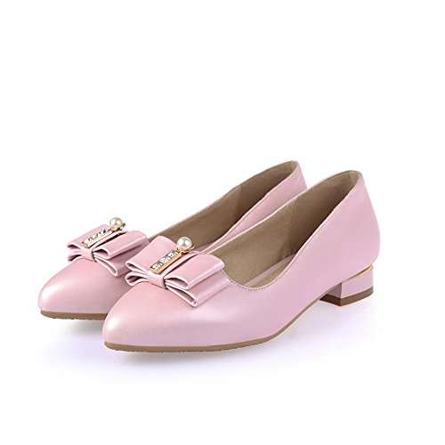 AdeeSu Womens Chunky Heels Pointed-Toe Microfiber Solid Urethane Pumps Shoes SDC03765 Pink jskfq