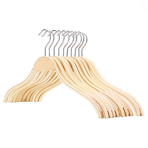 Tosnail Bamboo Wood Heavy Duty Clothes Hangers, Non-slip Plywood Hangers, 10 Pack