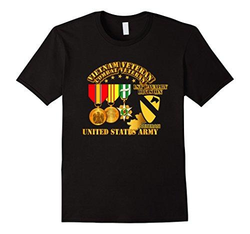 Mens Vietnam Veteran - w Medals - VN - 1st Cav Division Tshirt XL Black (1st Cav T-shirts)