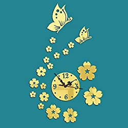 Fymural DIY Wall Clock Wall Stickers-Butterfly Flower Modern Acrylic Mirror Surface 3D Simple Big Size Wall Decor Clocks Numbers Stickers for Living Room Bedroom TV Wall Decoration Removable