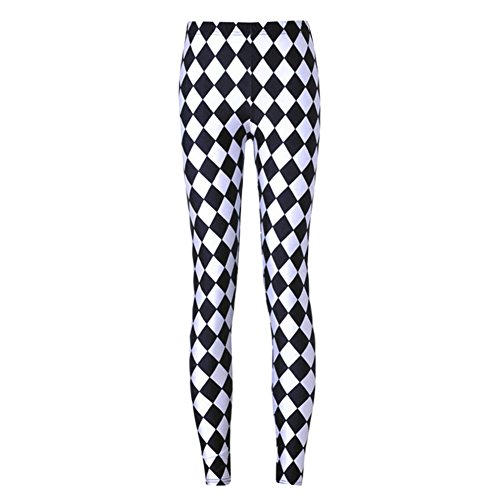 Dorathy Women's Sports Fashion Black and White Jester Leggings Design]()