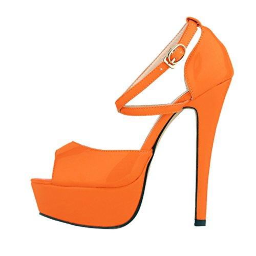 sandals Women's Toe High Patent Fashion Heels Sandal PU inch 5 Peep Slip Platform Orange 5 On Stiletto Shoes Fw4xPFrECq