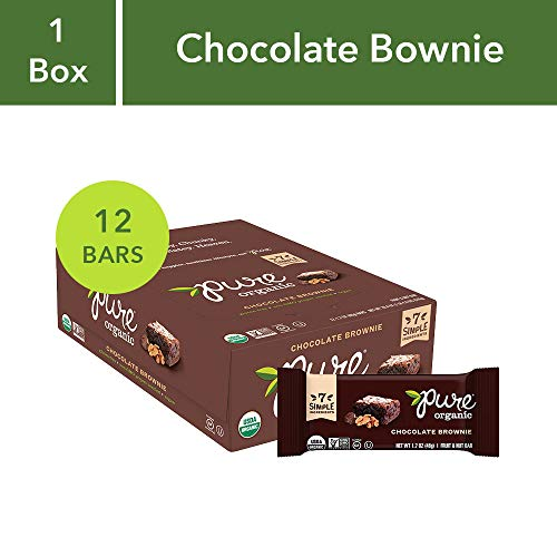 Bar Brownie Pure Organic - Pure Organic Chocolate Brownie Bar, Gluten-Free, Certified Organic, Non-GMO, Vegan,  Kosher, Plant Based Whole Food Nutrition Bar, 1.7 ounce (Pack of 12) ( Pack May Vary )