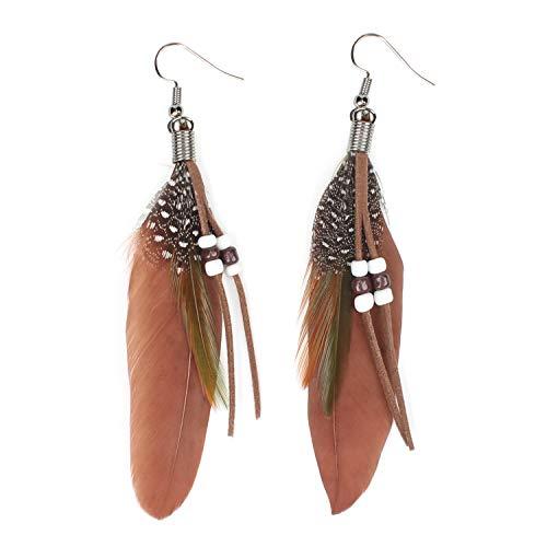 KISSPAT Nature Feather Earring Cute Handmade Goose Feather Super Light Boho Dangle Earrings for Women Girls, Brown