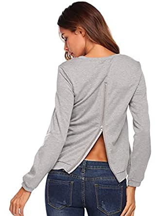 Mofavor Women's Crew Neck Pullover Shirts with Zip Back Detail Grey M