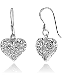 925 Sterling Silver Filigree Flora Flower Open Puffed Heart Dangle Hook Earrings