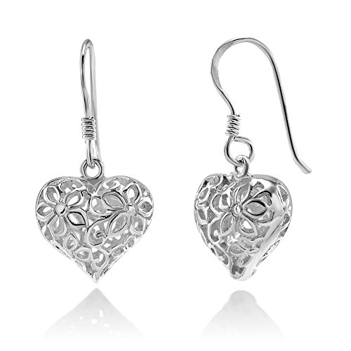 - 925 Sterling Silver Filigree Flora Flower Open Puffed Heart Dangle Hook Earrings