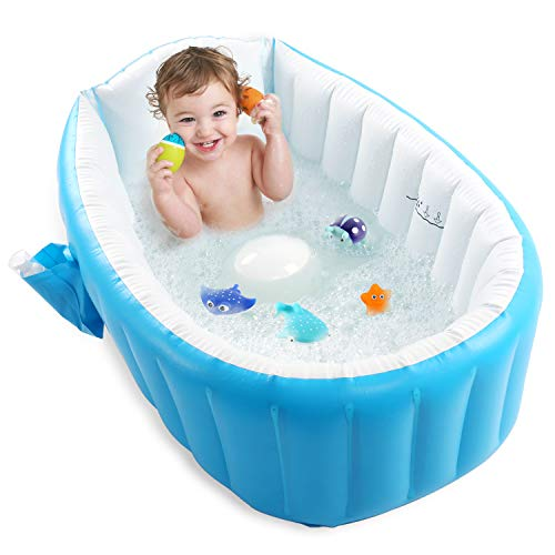 Baby Inflatable Bathtub, Pawsky Portable Infant Toddler Bathing Tub Non Slip Travel Bathtub Mini Air Swimming Pool Kids Thick Foldable Shower Basin, Blue (Bathtub Duck Inflatable Rubber)