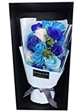 DALAMODA Soap Rose Artificial Flowers Gift Box,Soap Rose Flower Bouquet for Anniversary, Weddings, Birthdays, Valentine's Day, Mother's Day(#10 Rose-Blue)
