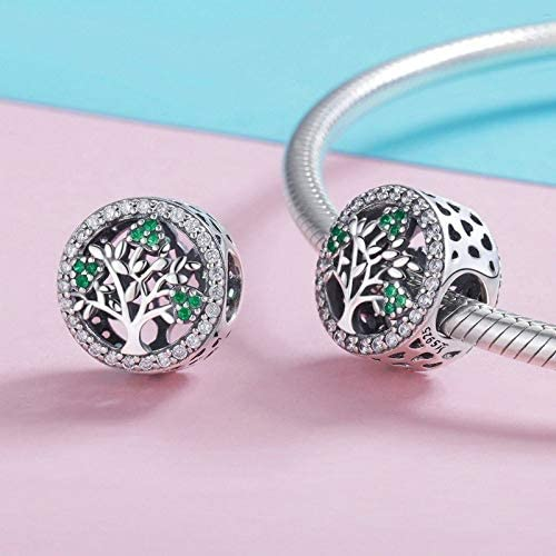 Everbling Tree of Life Dazzling CZ 925 Sterling Silver Bead Fits European Charm Bracelet