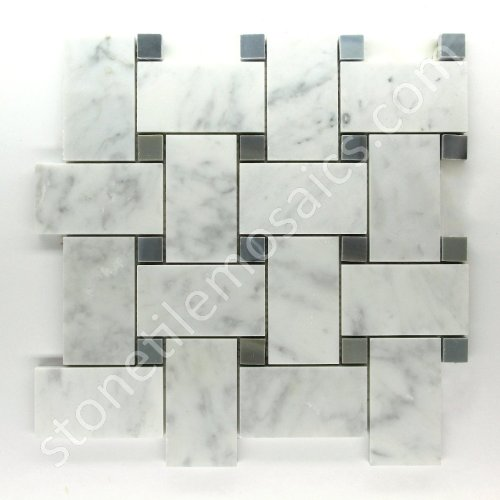 Vogue Carrara Marble Italian White Bianco Carrera Large Size Big Basketweave Mosaic Tile with Bardiglio Gray Dots Honed Designed in Italy 12x12