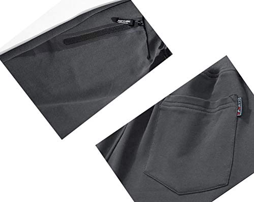 WOTHONPIS Men's Workout Shorts Lightweight Joggers Shorts Casual Cotton Shorts Drawstring with Zipper Pockets