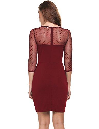 Sexy Vintage Red Dress Wine Bodycon Neck Dot Deep ACEVOG V Women's Club Polka ATwqnHZ