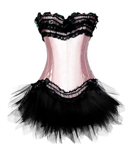 Fancy Dress Corsets - Zanuce Women's Lace Up Boned Corset Bustier TuTu Skirt Fancy Dress Set,Pink,X-large