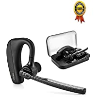 [ Latest Version]WISTMAR SoundBuds Slim Bluetooth Wireless Headset Ear Hooks Business HD Stereo Earphones Headphones Noise Cancelling In-ear Earbuds With Mic for iPhone and Android
