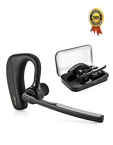 [ Latest Version] WISTMAR SoundBuds Slim Bluetooth Wireless Headset Ear Hooks Business HD Stereo Earphones Headphones Noise Cancelling in-Ear Earbuds Mic iPhone Android
