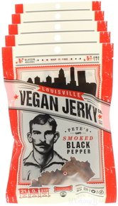 Jerky Black Pepper (Louisville Vegan Jerky - Smoked Black Pepper, Vegetarian & Vegan Friendly Jerky, 21 Grams of Non-GMO Soy Protein, Gluten-Free Ingredients (Pack of 5, 3 oz.))