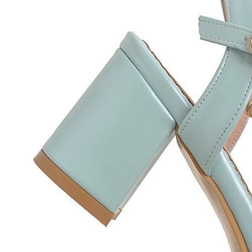 BalaMasa Womens Sandals Kitten-Heels Cold Lining Urethane Sandals ASL04834 Blue csMJXFXF