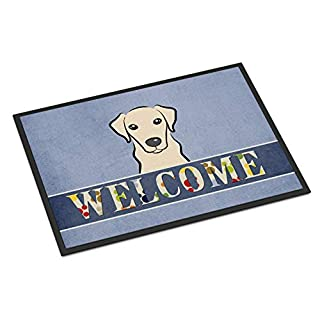 Caroline's Treasures BB1408JMAT Yellow Labrador Welcome Indoor or Outdoor Mat 24x36, 24H X 36W, Multicolor