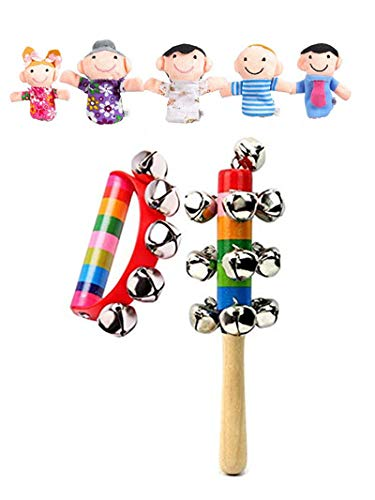 (lifeirong 6 Pcs Baby Finger Puppet +2 Pcs Baby Kids Rainbow Wooden Handle Bell Jingle Stick Shaker Rattle Toys Child Early Musical Instrument Educational)
