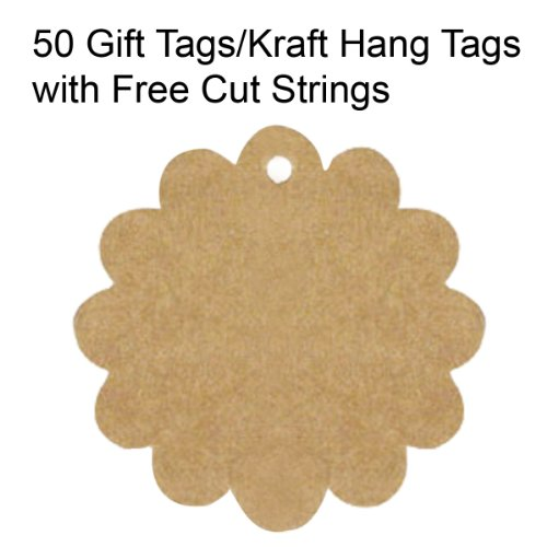 - Wrapables A65166c 50 Gift Tags/Kraft Hang Tags with Free Cut Strings for Gifts Crafts and Price Tags, Flower