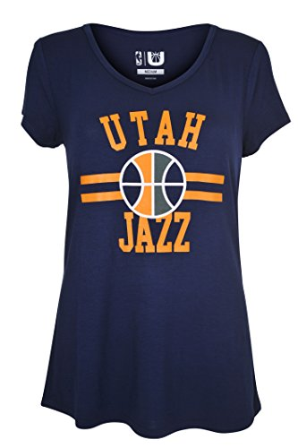 fan products of NBA Women's Utah Jazz T-Shirt V-Neck Relaxed Fit Short Sleeve Tee Shirt, Large, Navy