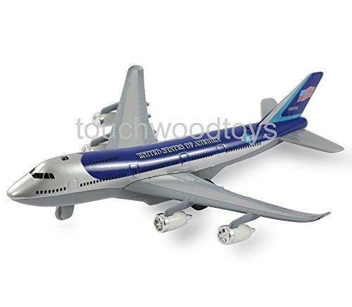 Avion modèle Boeing 747 Jumbo jet en métal die cast jouet avion avec des lumières et des sons réalistes (ARGENT/BLEU)
