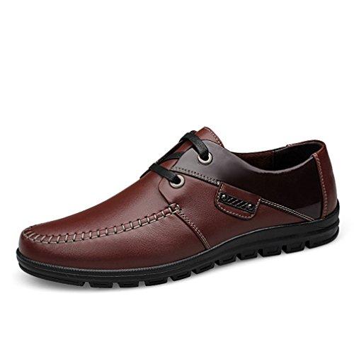 [QIFENGDIANZI]メンズシューズ レースアップ カジュアルシューズ 紳士靴 大きいサイズ ビッグサイズ 滑り止め 快適な履き心地 通気性抜群 かっこいい お洒落 通勤用 黒 ブラウン