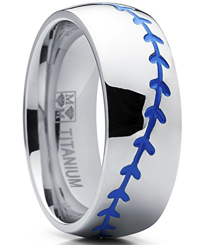 Metal Masters Co. Titanium Sports Baseball Ring Wedding Band with Blue Stitching, Comfort Fit, Dome High Polish Finish 8mm 8
