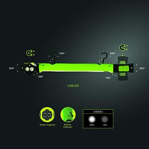 Luceco Lámpara LED de trabajo de 10 W, recargable, 1000 lúmenes, para taller, reparación y camping, luz de inspección con imán