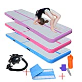 PreGymnastic 10 ft Airtrack Tumbling Mat& Air Block, Inflatable Gymnastics Mat with Electric Air Pump for Home Use/Training/Cheerleading/Beach/Park and Water