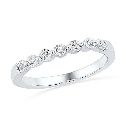Seven Stone Diamond Wedding Band 10k White Gold Ring Anniversary Style Stackable Illusion Set 1/10 ctw ()