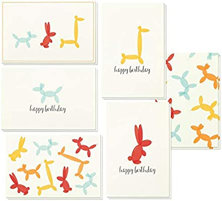 Birthday Cards Box Set 48 Pack Happy 6 Balloon Animal Designs Bulk Envelopes Included 4 X Inches