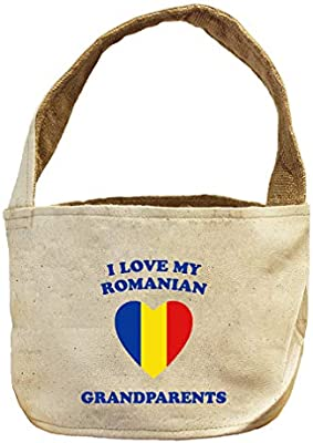 Amazon.com  Style In Print I Love My Romanian Grandparents Canvas and  Burlap Storage Basket Natural  Home   Kitchen 8689b2f67