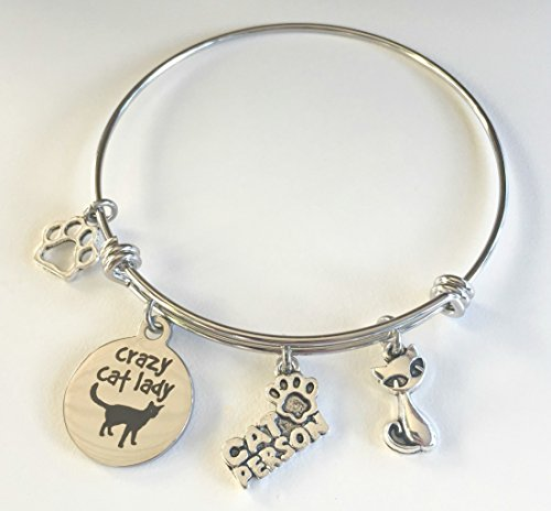 Crazy Cat Lady | Charm Bracelet for Cat Lovers | Cat Jewelry