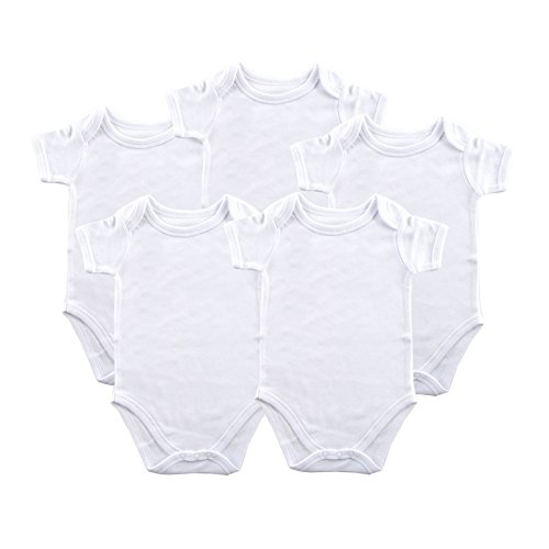 Luvable Friends Unisex Baby Cotton Bodysuits, White Short Sleeve 5 Pack, 12-18 Months (18M)