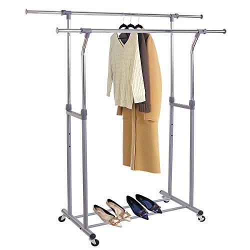 MOGI'S Clothes drying Rack,Double Rail Clothes Rack Adjustab