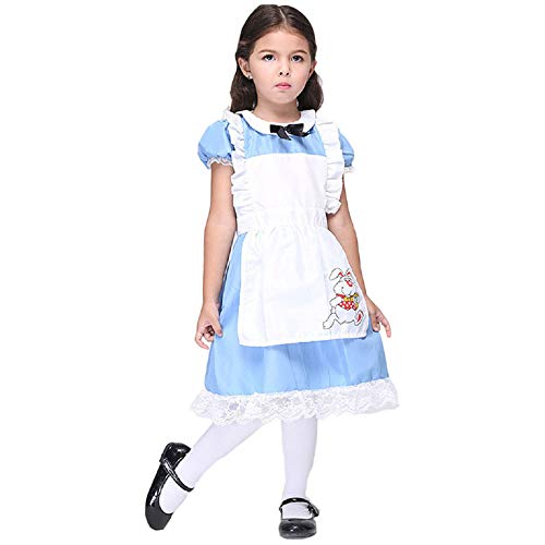 Peachi Girls Alice in Wonderland Fancy Dress Party Rabbit School Halloween Costume (L)