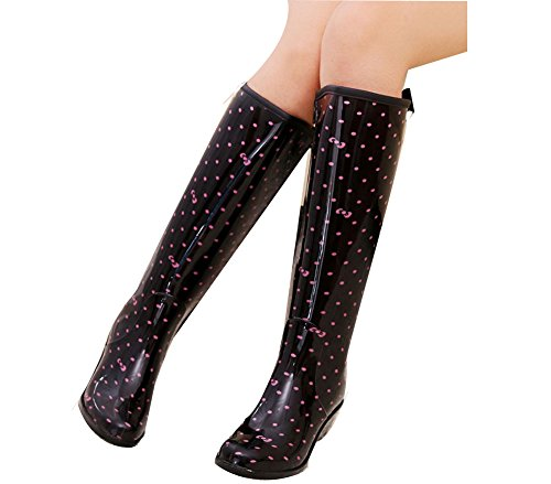 dot Printing Waterproof Wedges with Rain Boots Women's Lovely Bow fereshte zZx5qFx