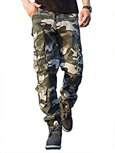 CloSoul Direct Men's Military Cargo Pants Loose Fit Wild Camo Hunting Combat Trousers Daily Basic Work Pants