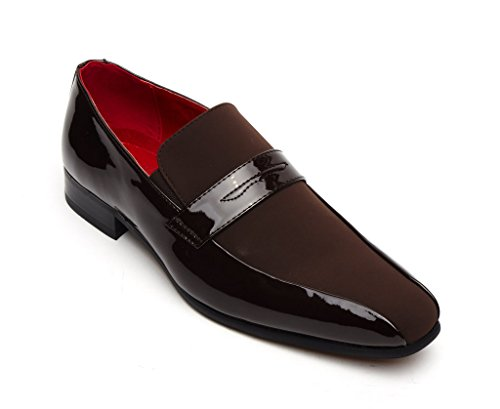 Mens Formal Boat Style Classy Patent and Nubuck Shoes Rossellini- Brown Size 7 UK 0r478go8kE